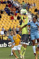 Atlanta Beat goalkeeper cuts off a cross intended for Sky Blue FC's Rosana during Atlanta's debut of the new, soccer-specific Atlanta Beat/KSU Soccer Stadium.