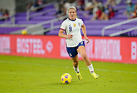 ORLANDO CITY, FL - FEBRUARY 18: Lindsey Horan #9 of the United States moves forward with the ball during a game between Canada and USWNT at Exploria Stadium on February 18, 2021 in Orlando City, Florida.