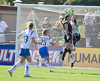Brandi Chastain, Kristin Luckenbill. FC Gold Pride defeated the Boston Breakers, 2-1, in their home opener on April 5, 2009 at Buck Shaw Stadium in Santa Clara, CA.