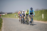 breakaway group rolling through the Holle Weg<br /> <br /> 62nd E3 BinckBank Classic (Harelbeke) 2019 <br /> One day race (1.UWT) from Harelbeke to Harelbeke (204km)<br /> <br /> ©kramon