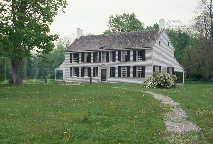 AJ4365, Saratoga, Schuyler House, Saratoga National Historical Park, New York, The Philip Schuyler House at Saratoga Nat'l Historical Park in Schuylerville in the state of New York.