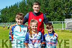 Moyvane Cul Camp : Kian, Anna & Ryan Lyons, Moyvane with coach Jason Foley  at the Moyvane GAA cul Camp on Friday last.