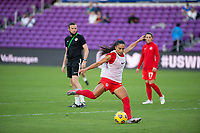 ORLANDO, FL - FEBRUARY 21: Jordyn Listro #21 of the CANWNT kicks the ball before a game between Argentina and Canada at Exploria Stadium on February 21, 2021 in Orlando, Florida.