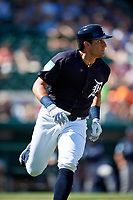 Detroit Tigers left fielder Mikie Mahtook (8) runs to first base during a Grapefruit League Spring Training game against the Atlanta Braves on March 2, 2019 at Publix Field at Joker Marchant Stadium in Lakeland, Florida.  Tigers defeated the Braves 7-4.  (Mike Janes/Four Seam Images)