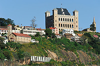 "MADAGASCAR city Antananarivo , ""Queen's Palace"" named after Queen Ranavalona I or The Rova of Antananarivo is a royal palace complex that served as the former residence and capital of the sovereigns of the Kingdom of Imerina in the 17th to 18th centuries and the Kingdom of Madagascar in the 19th century / MADAGASKAR Hauptstadty Antananarivo, koeniglicher Palast und Hollywood nachgeahmter Schriftzug ANTANANARIVO"