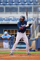 Atlanta Braves Mahki Backstrom (63) bats during a Minor League Spring Training game against the Tampa Bay Rays on June 1, 2021 at Charlotte Sports Park in Port Charlotte, Florida.  (Mike Janes/Four Seam Images)