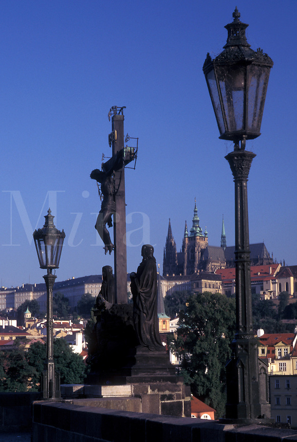 Prague, Charles Bridge, Czech Republic, Praha, Central Bohemia, Religious statue on Charles Bridge.