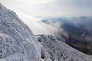 View from Mount Liberty in the White Mountains of New Hampshire in whiteout conditions during the winter months.