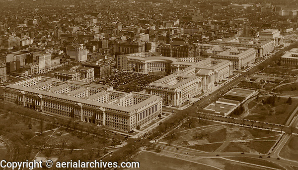 historical aerial photograph of the Department of Commerce, Department of Labor and Interstate Commerce, Department of Justice and Archives Building, Washington, DC, 1937