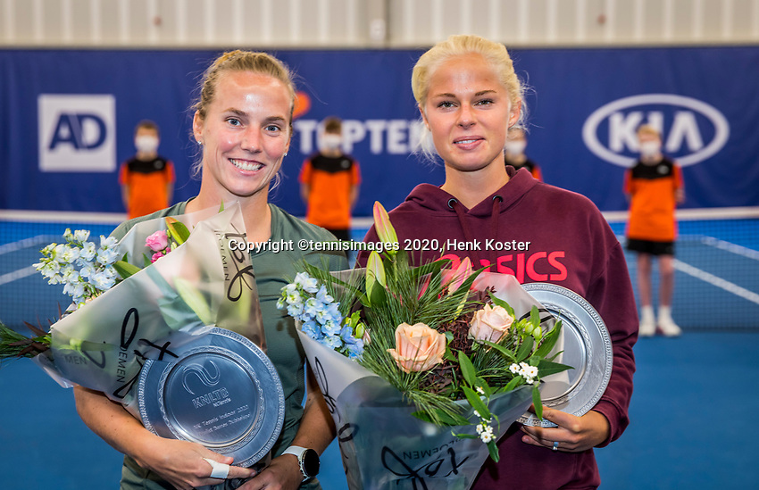 Amstelveen, Netherlands, 20  December, 2020, National Tennis Center, NTC, NK Indoor, National  Indoor Tennis Championships, Women's  Double Final  Runners up: 	<br /> Richel Hogenkamp (NED) (L) and Eva Vedder (NED)	 Photo: Henk Koster/tennisimages.com
