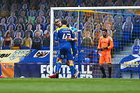 Joe Pigott (facing) of AFC Wimbledon scores the first goal for his team and celebratesduring AFC Wimbledon vs Crawley Town, Emirates FA Cup Football at Plough Lane on 29th November 2020
