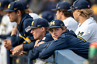 Michigan Wolverines pitcher Jack White (30) in the dugout during the NCAA baseball game against the Michigan State Spartans on May 7, 2019 at Ray Fisher Stadium in Ann Arbor, Michigan. Michigan defeated Michigan State 7-0. (Andrew Woolley/Four Seam Images)