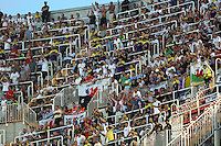 Valencia, Spain. Thursday 19 September 2013<br /> Pictured: Swansea supporters<br /> Re: UEFA Europa League game against Valencia C.F v Swansea City FC, at the Estadio Mestalla, Spain,