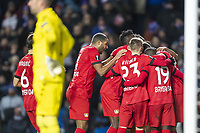 12th March 2020, Ibrox Stadiu, Glasgow, Scotland; Europa League football, Glasgow Rangers versus Bayer Leverkusen;  The Leverkusener players celebrate their goal for 0:1 from Havertz from the penalty spot after 37 minutes