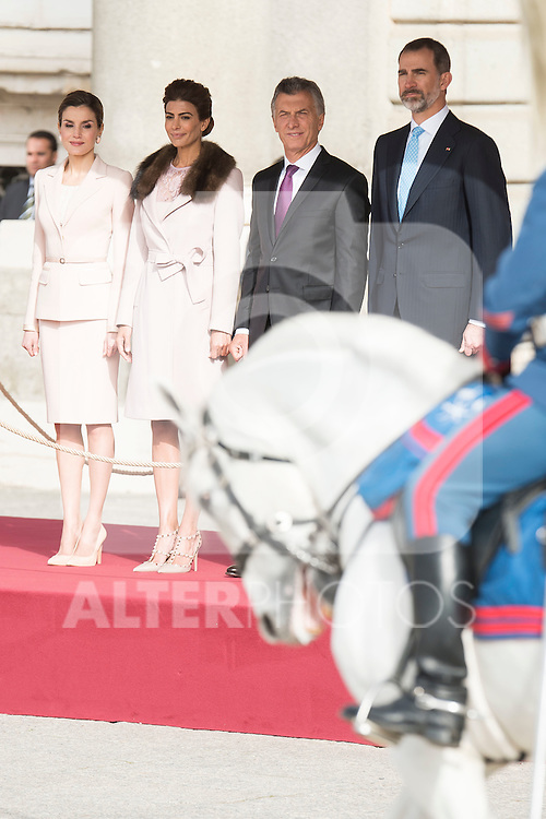 Queen Letitzia of Spain, Juliana Awada, president of Argentinian Republic Mauricio Macri and King Felipe VI of Spain during state visit of the president of Argentinian Republic, Sr. Mauricio Macri and Sra Juliana Awada at Real Palace in Madrid, Spain. February 19, 2017. (ALTERPHOTOS/BorjaB.Hojas)
