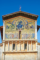 Close up of the  Byzantine Mosaic panel depicting Christ Pantocrator of the Basilica of San Frediano, a Romanesque church, Lucca, Tunscany, Italy