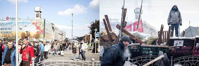 Fotopaar_Maidan ca. ein Jahr später mit Gewerkschaftshaus im Hintergrund und Barrikaden 10.2014-25.01.2014 / Foto-pair_Maidan with the workers-union building in the backround 10.2014-25.01.2014