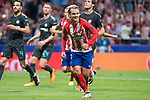 Atletico de Madrid's Antoine Griezmann celebrating a goal during UEFA Champions League match between Atletico de Madrid and Chelsea at Wanda Metropolitano in Madrid, Spain September 27, 2017. (ALTERPHOTOS/Borja B.Hojas)