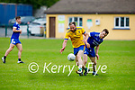 Tussling for possession is Aidan Brean of Ballymac and James Scanlon of Annascaul in their encounter in Division 2b of the County Football League