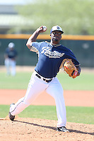 Keyvius Sampson #62 of the San Diego Padres pitches during a Minor League Spring Training Game against the Kansas City Royals at the Kansas City Royals Spring Training Complex on March 26, 2014 in Surprise, Arizona. (Larry Goren/Four Seam Images)