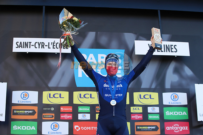 Sam Bennett (IRL) Deceuninck-Quick Step wins Stage 1 of Paris-Nice 2021, running 166km from Saint-Cyr-l'École to Saint-Cyr-l'École, France. 7th March 2021.<br /> Picture: ASO/Fabien Boukla | Cyclefile<br /> <br /> All photos usage must carry mandatory copyright credit (© Cyclefile | ASO/Fabien Boukla)