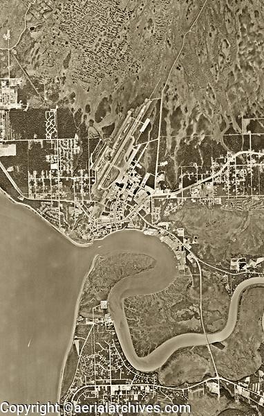aerial photo map of Kenai, the Kenai River, the Kenai Municipal Airport (ENA) and the Cook Inlet, Alaska