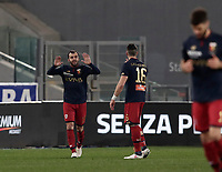 Calcio, Serie A: Lazio - Genoa, Roma, Stadio Olimpico, 5 Febbraio 2018. <br /> Genoa's Goran Pandev (l) celebrates after scoring with his teammates Andrey Galabinov (r) during the Italian Serie A football match between Lazio and Genoa at Rome's Stadio Olimpico, February 5, 2018.<br /> UPDATE IMAGES PRESS/Isabella Bonotto