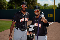 Jupiter Hammerheads Tristan Pompey and Victor Victor Mesa before a Florida State League game against the Florida Fire Frogs on April 11, 2019 at Osceola County Stadium in Kissimmee, Florida.  Jupiter defeated Florida 2-0.  (Mike Janes/Four Seam Images)