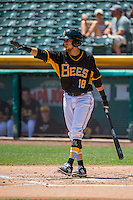 Erick Salcedo (18) of the Salt Lake Bees at bat against the Albuquerque Isotopes in Pacific Coast League action at Smith's Ballpark on June 28, 2015 in Salt Lake City, Utah.  The Isotopes defeated the Bees 8-3.(Stephen Smith/Four Seam Images)