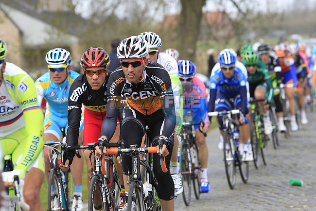The peloton including Belgian National Champion Philippe Gilbert (BEL) BMC Racing Team on the 2nd cobbled section at Doorn during the 96th edition of The Tour of Flanders 2012, running 256.9km from Bruges to Oudenaarde, Belgium. 1st April 2012. <br /> (Photo by Eoin Clarke/NEWSFILE).