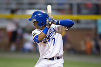 Oliver Nunez (7) of the Burlington Royals pinch-hits in the bottom of the 9th inning against the Danville Braves at Burlington Athletic Stadium on August 12, 2017 in Burlington, North Carolina.  The Braves defeated the Royals 5-3.  (Brian Westerholt/Four Seam Images)