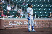 Surprise Saguaros third baseman Vladimir Guerrero Jr. (27), of the Toronto Blue Jays organization, on deck during an Arizona Fall League game against the Mesa Solar Sox at Sloan Park on November 1, 2018 in Mesa, Arizona. Surprise defeated Mesa 5-4 . (Zachary Lucy/Four Seam Images)