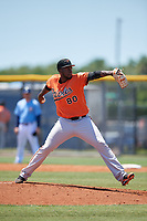Baltimore Orioles pitcher Felix Bautista (80) during a Minor League Extended Spring Training game against the Tampa Bay Rays on April 17, 2019 at Charlotte County Sports Complex in Port Charlotte, Florida.  (Mike Janes/Four Seam Images)