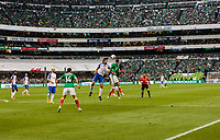 Mexico City, Mexico - Sunday June 11, 2017: Omar Gonzalez, Hirving Lozano during a 2018 FIFA World Cup Qualifying Final Round match with both men's national teams of the United States (USA) and Mexico (MEX) playing to a 1-1 draw at Azteca Stadium.