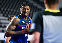 22nd February 2021, Podgorica, Montenegro; Eurobasket International Basketball qualification for the 2022 European Championships, England versus France;  Ovie Soko of Great Britain questions the referees decision