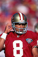 SAN FRANCISCO, CA - Quarterback Steve Young of the San Francisco 49ers in action during a game at Candlestick Park in San Francisco, California on August 12, 1994. Photo by Brad Mangin..