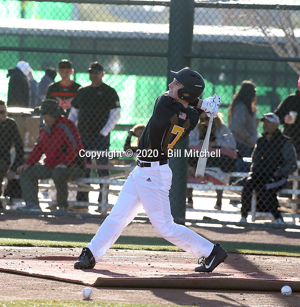 Cole Young takes part in the 2020 Under Armour Pre-Season All-America Tournament at the Chicago Cubs training complex and Red Mountain baseball complex on January 18-19, 2020 in Mesa, Arizona (Bill Mitchell)