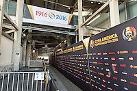 Pasadena, CA - Thursday June 09, 2016: COPA America Signage during a Copa America Centenario Group C match between Mexico (MEX) and Jamaica (JAM) at Rose Bowl Stadium.