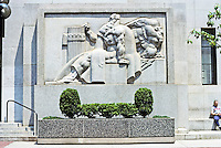 """Philadelphia: U. S. Post Office. Stone relief, """"Justice and Law""""  by Donald De Lue. Photo '88."""