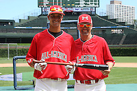First baseman Jacob Anderson (21) with Steve Bernhardt during the 2010 Under Armour All-American Game powered by Baseball Factory at Wrigley Field in Chicago, New York;  August 14, 2010.  Photo By Mike Janes/Four Seam Images