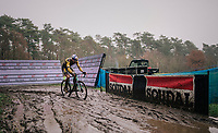 Wout van Aert (BEL/Jumbo-Visma) splashing about<br /> <br /> Men's Race at the X2O Herentals Cross 2020 (BEL)<br /> <br /> ©kramon