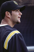 Eric Chavez of the Oakland Athletics during a 2001 season MLB game at Angel Stadium in Anaheim, California. (Larry Goren/Four Seam Images)
