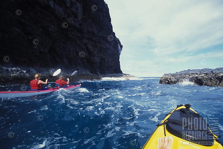 Kayak paddling on Kauai's Na Pali Coast