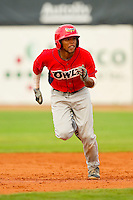 Sherman Johnson (4) of the Orem Owlz takes his lead off of second base against the Ogden Raptors at Lindquist Field on July 29, 2012 in Ogden, Utah.  The Owlz defeated the Raptors 6-4.   (Brian Westerholt/Four Seam Images)