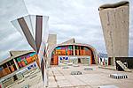 "French Artist Daniel Buren exhibition ""Defini Fini Infini, Travaux In Situ"" at the MaMo art center, Cité Radieuse Le Corbusier,  Marseille."