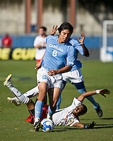 North Carolina defender David Rodriguez (6) dribbles the ball.  Maryland Terrapins defeated North Carolina Tar Heels 1-0 to win the NCAA Men's College Cup at Pizza Hut Park in Frisco, TX on December 14, 2008.  Photo by Wendy Larsen/isiphotos.com