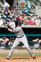 Hickory Crawdads designated hitter Sam Huff (27) at bat during a game against the Charleston Riverdogs at the Joseph P. Riley Ballpark in Charleston, South Carolina.  Hickory defeated Charleston 8-7. (Robert Gurganus/Four Seam Images)