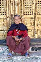 Nepal, Changu Narayan.  Old Newari Hindu Woman.