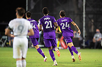 LAKE BUENA VISTA, FL - JULY 31: Joao Moutinho #4 of Orlando City SC celebrates a goal during a game between Orlando City SC and Los Angeles FC at ESPN Wide World of Sports on July 31, 2020 in Lake Buena Vista, Florida.