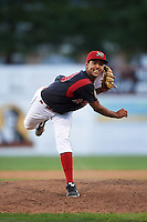 Batavia Muckdogs pitcher Aneury Osoria (38) delivers a pitch during a game against the Vermont Lake Monsters August 9, 2015 at Dwyer Stadium in Batavia, New York.  Vermont defeated Batavia 11-5.  (Mike Janes/Four Seam Images)